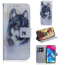 Snow Wolf PU Leather Wallet Case for Samsung Galaxy A10