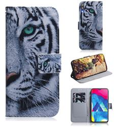 White Tiger PU Leather Wallet Case for Samsung Galaxy A10