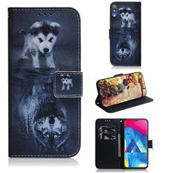 Wolf and Dog PU Leather Wallet Case for Samsung Galaxy A10