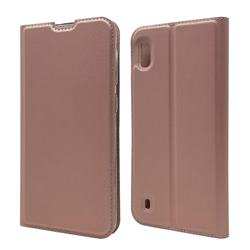 Ultra Slim Card Magnetic Automatic Suction Leather Wallet Case for Samsung Galaxy A10 - Rose Gold