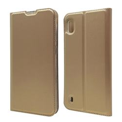 Ultra Slim Card Magnetic Automatic Suction Leather Wallet Case for Samsung Galaxy A10 - Champagne