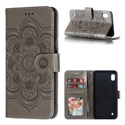 Intricate Embossing Datura Solar Leather Wallet Case for Samsung Galaxy A10 - Gray