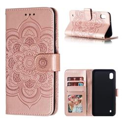Intricate Embossing Datura Solar Leather Wallet Case for Samsung Galaxy A10 - Rose Gold
