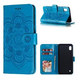 Intricate Embossing Datura Solar Leather Wallet Case for Samsung Galaxy A10 - Blue