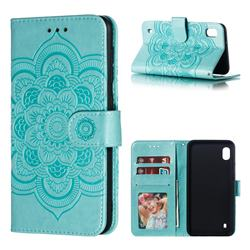 Intricate Embossing Datura Solar Leather Wallet Case for Samsung Galaxy A10 - Green