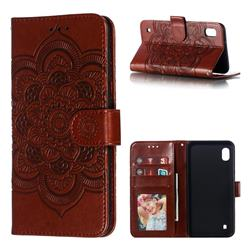 Intricate Embossing Datura Solar Leather Wallet Case for Samsung Galaxy A10 - Brown