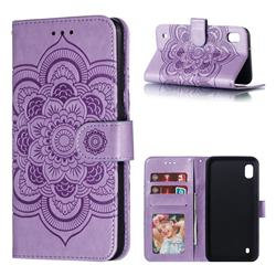 Intricate Embossing Datura Solar Leather Wallet Case for Samsung Galaxy A10 - Purple