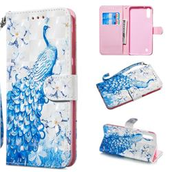 Blue Peacock 3D Painted Leather Wallet Phone Case for Samsung Galaxy A10