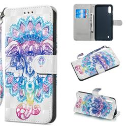 Colorful Elephant 3D Painted Leather Wallet Phone Case for Samsung Galaxy A10