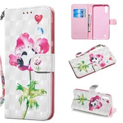 Flower Panda 3D Painted Leather Wallet Phone Case for Samsung Galaxy A10