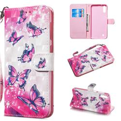 Pink Butterfly 3D Painted Leather Wallet Phone Case for Samsung Galaxy A10
