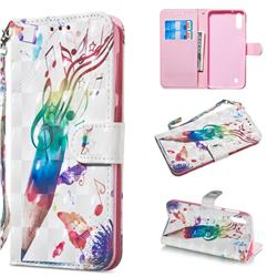 Music Pen 3D Painted Leather Wallet Phone Case for Samsung Galaxy A10