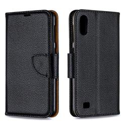 Classic Luxury Litchi Leather Phone Wallet Case for Samsung Galaxy A10 - Black