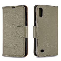 Classic Luxury Litchi Leather Phone Wallet Case for Samsung Galaxy A10 - Gray