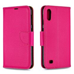 Classic Luxury Litchi Leather Phone Wallet Case for Samsung Galaxy A10 - Rose