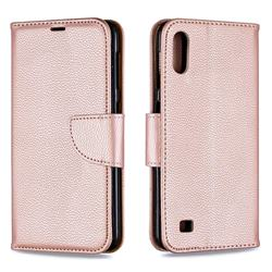 Classic Luxury Litchi Leather Phone Wallet Case for Samsung Galaxy A10 - Golden