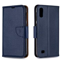 Classic Luxury Litchi Leather Phone Wallet Case for Samsung Galaxy A10 - Blue
