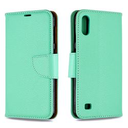 Classic Luxury Litchi Leather Phone Wallet Case for Samsung Galaxy A10 - Green