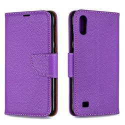 Classic Luxury Litchi Leather Phone Wallet Case for Samsung Galaxy A10 - Purple