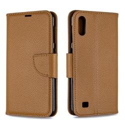 Classic Luxury Litchi Leather Phone Wallet Case for Samsung Galaxy A10 - Brown