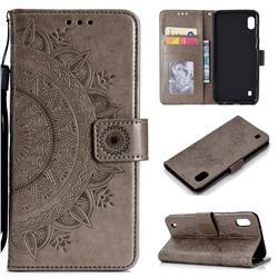 Intricate Embossing Datura Leather Wallet Case for Samsung Galaxy A10 - Gray