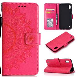 Intricate Embossing Datura Leather Wallet Case for Samsung Galaxy A10 - Rose Red