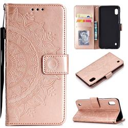 Intricate Embossing Datura Leather Wallet Case for Samsung Galaxy A10 - Rose Gold