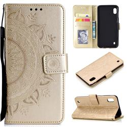 Intricate Embossing Datura Leather Wallet Case for Samsung Galaxy A10 - Golden