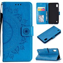Intricate Embossing Datura Leather Wallet Case for Samsung Galaxy A10 - Blue