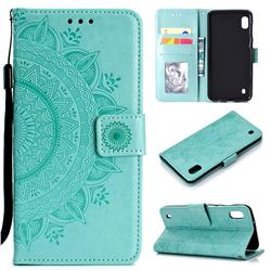 Intricate Embossing Datura Leather Wallet Case for Samsung Galaxy A10 - Mint Green