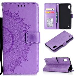 Intricate Embossing Datura Leather Wallet Case for Samsung Galaxy A10 - Purple