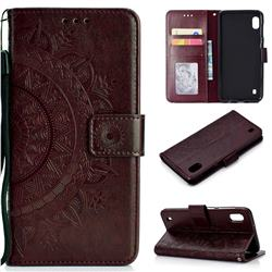 Intricate Embossing Datura Leather Wallet Case for Samsung Galaxy A10 - Brown