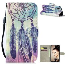 Feather Wind Chimes 3D Painted Leather Wallet Phone Case for Samsung Galaxy A10