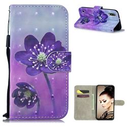 Purple Flower 3D Painted Leather Wallet Phone Case for Samsung Galaxy A10