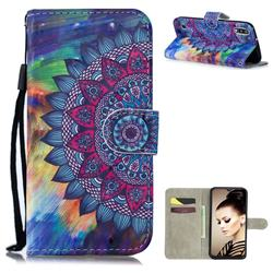 Oil Painting Mandala 3D Painted Leather Wallet Phone Case for Samsung Galaxy A10