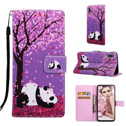Cherry Blossom Panda Matte Leather Wallet Phone Case for Samsung Galaxy A10