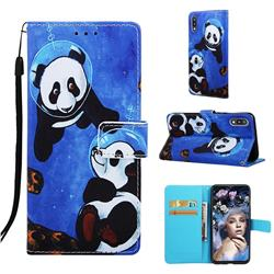 Undersea Panda Matte Leather Wallet Phone Case for Samsung Galaxy A10