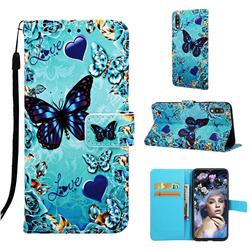 Love Butterfly Matte Leather Wallet Phone Case for Samsung Galaxy A10