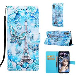 Tower Butterfly Matte Leather Wallet Phone Case for Samsung Galaxy A10