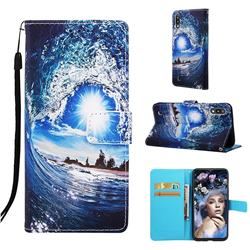 Waves and Sun Matte Leather Wallet Phone Case for Samsung Galaxy A10