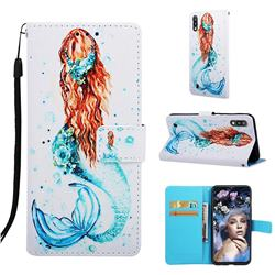 Mermaid Matte Leather Wallet Phone Case for Samsung Galaxy A10