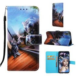 Mirror Cat Matte Leather Wallet Phone Case for Samsung Galaxy A10
