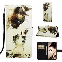 Cat Confrontation Matte Leather Wallet Phone Case for Samsung Galaxy A10