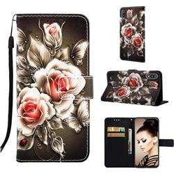 Black Rose Matte Leather Wallet Phone Case for Samsung Galaxy A10