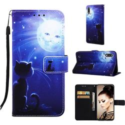 Cat and Moon Matte Leather Wallet Phone Case for Samsung Galaxy A10