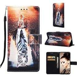 Cat and Tiger Matte Leather Wallet Phone Case for Samsung Galaxy A10