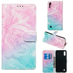 Pink Green Marble PU Leather Wallet Case for Samsung Galaxy A10
