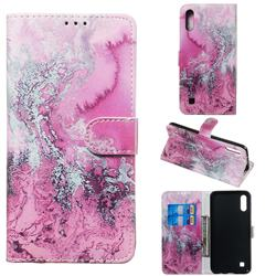 Pink Seawater PU Leather Wallet Case for Samsung Galaxy A10