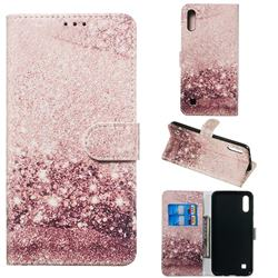 Glittering Rose Gold PU Leather Wallet Case for Samsung Galaxy A10