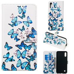 Blue Vivid Butterflies PU Leather Wallet Case for Samsung Galaxy A10